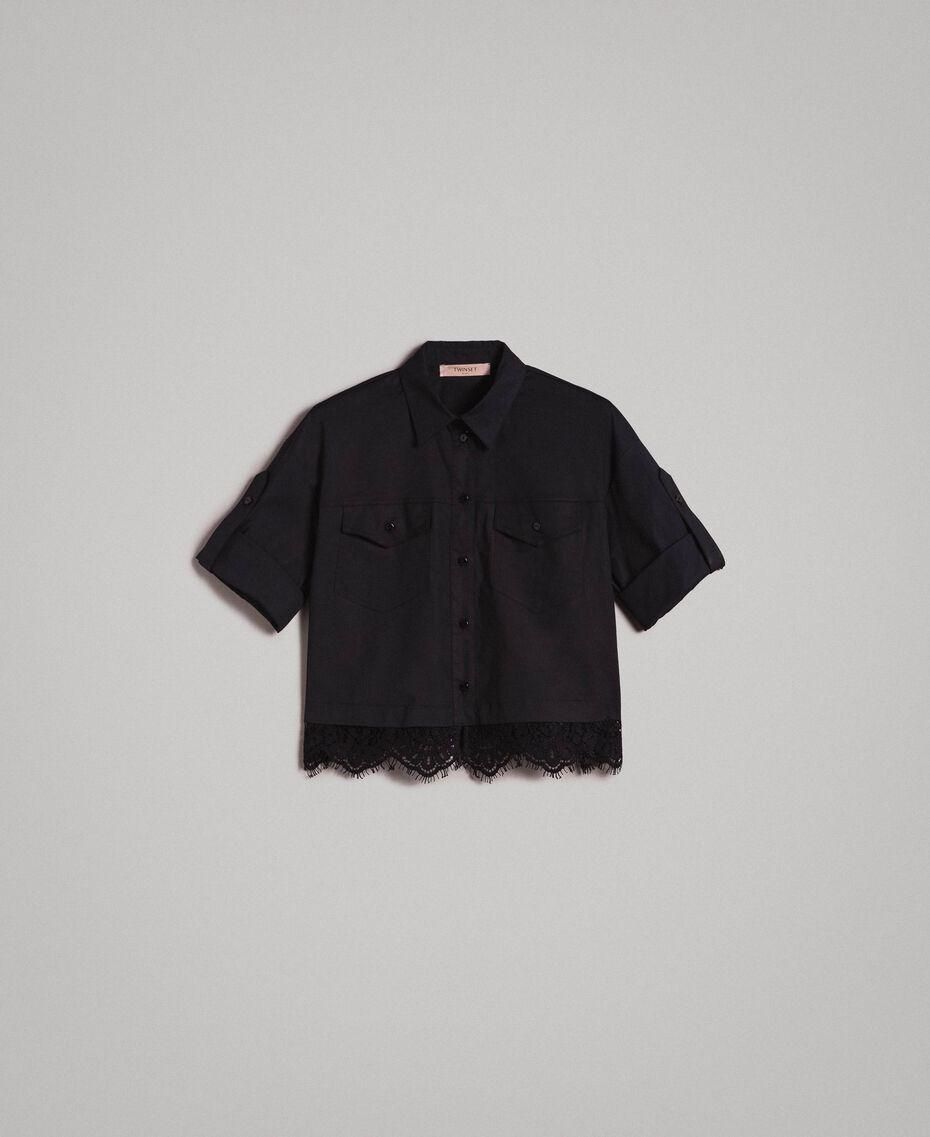 Popeline-Hemd mit Spitze Schwarz Frau 191TT2238-0S