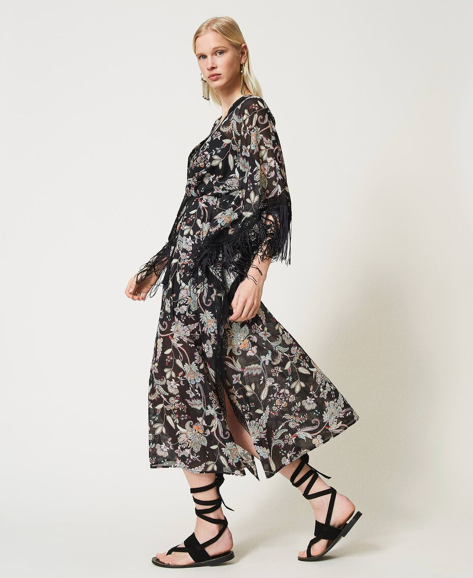Vestido caftán de muselina de flores Estampado Flor India Negro Mujer 211TT2683-02