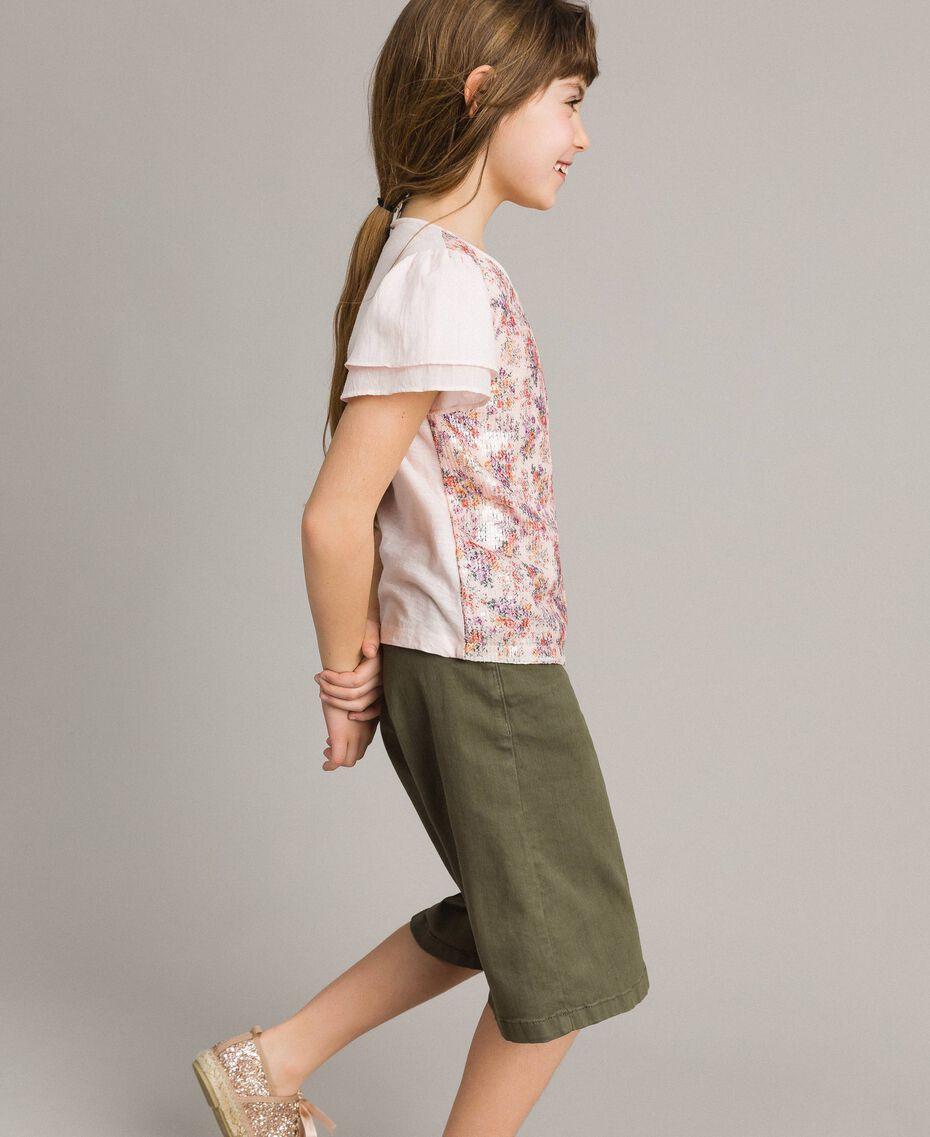 T-Shirt aus Jerseystoff mit aufgedruckten Pailletten Blütenrosa Kind 191GJ2660-02