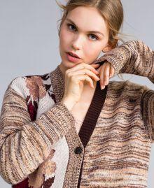 "Floral print houndstooth jacquard cardigan ""Nude"" Pink Floral Jacquard Woman SA83HC-04"