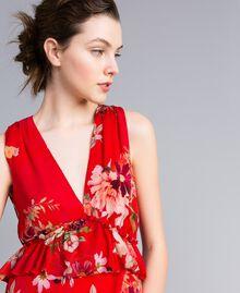 Robe longue en crêpe georgette floral Imprimé Jardin Rouge Femme PA8272-04