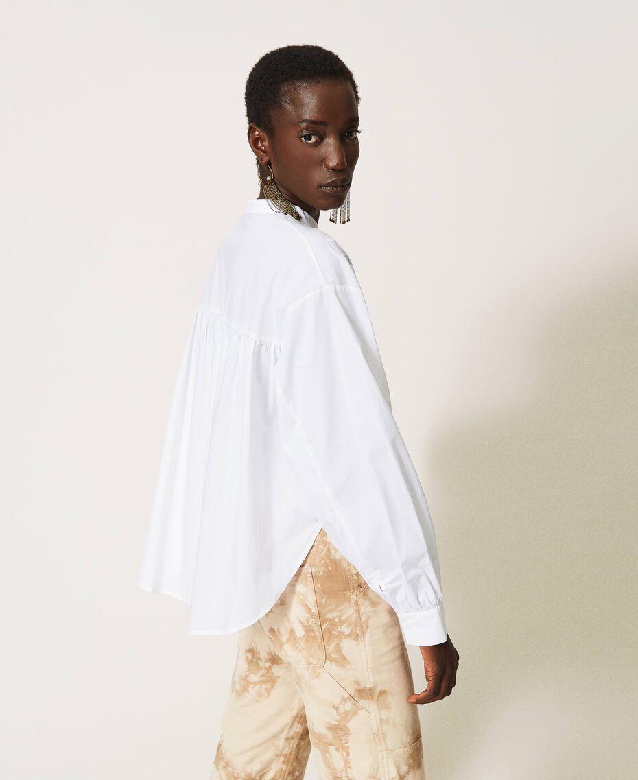 Camicia in popeline con pieghe Bianco Donna 211TT245C-01
