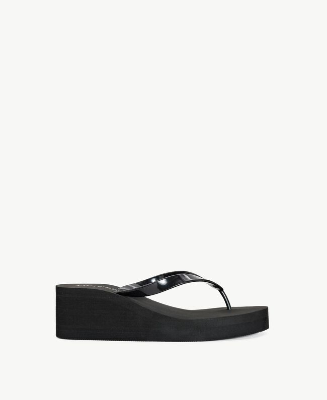 Platform flip flop shoes Black Woman BS8ZAA-01