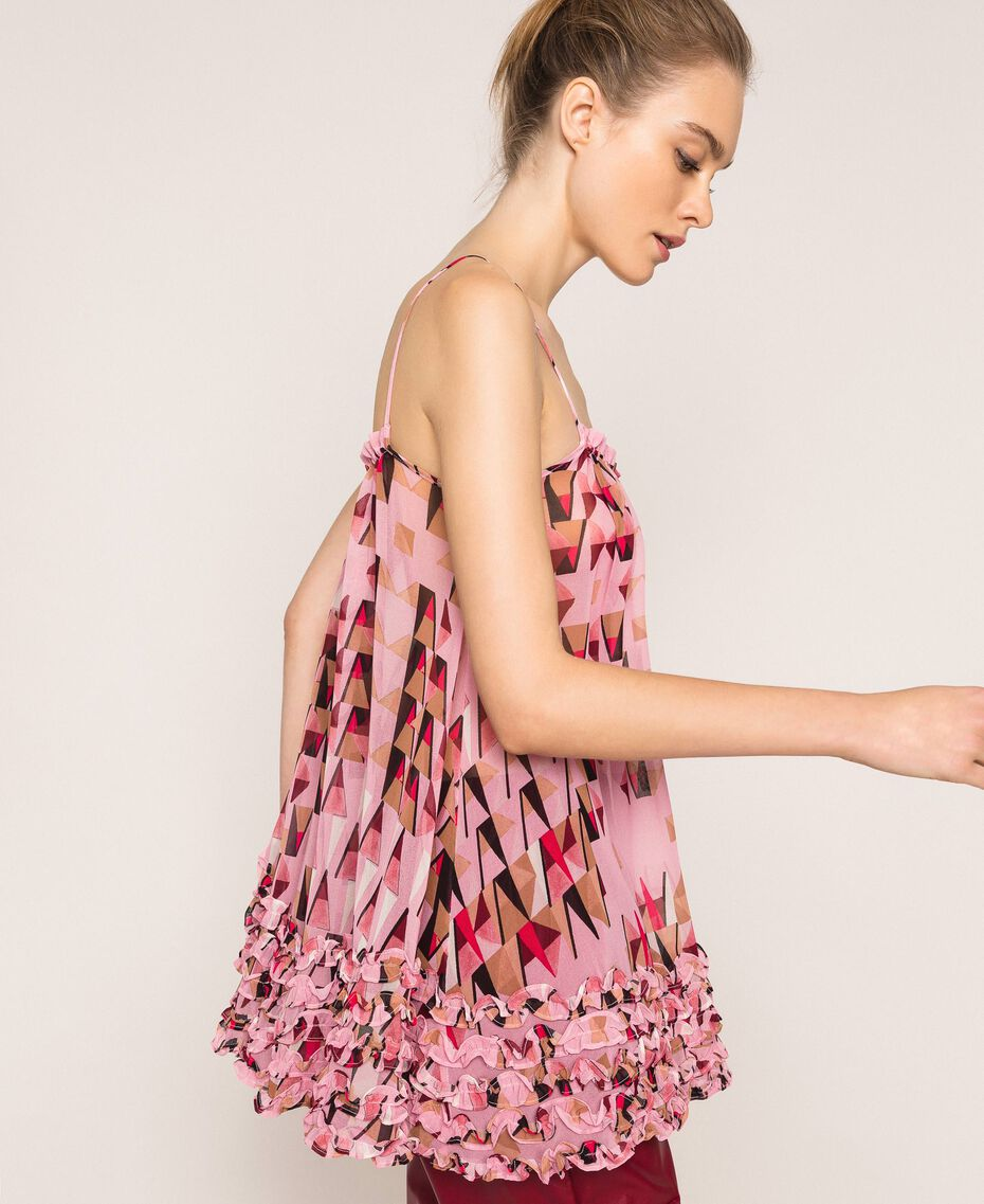 """Printed georgette top with micro frills """"Candy"""" Pink Geometric Print Woman 201ST2184-01"""