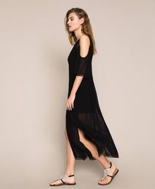 Robe longue en crêpe georgette avec broderies et dentelle Noir Femme 201TT2083-04