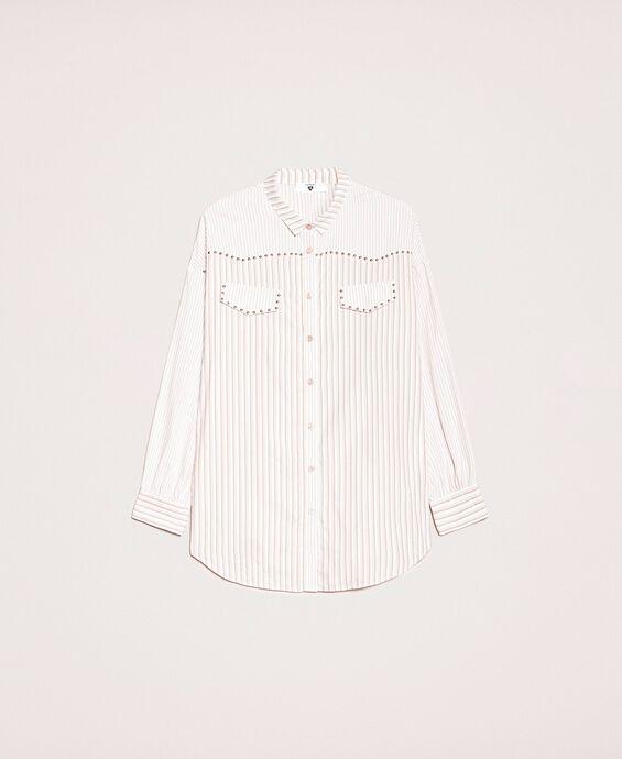 Chemise longue rayée avec clous