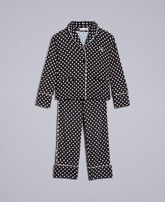 Pyjama en viscose à pois Imprimé Pois Noir / Blanc Cassé Enfant GA828A-01