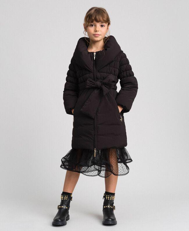 Doudoune longue en crêpe technique Noir Enfant 192GJ2030-01
