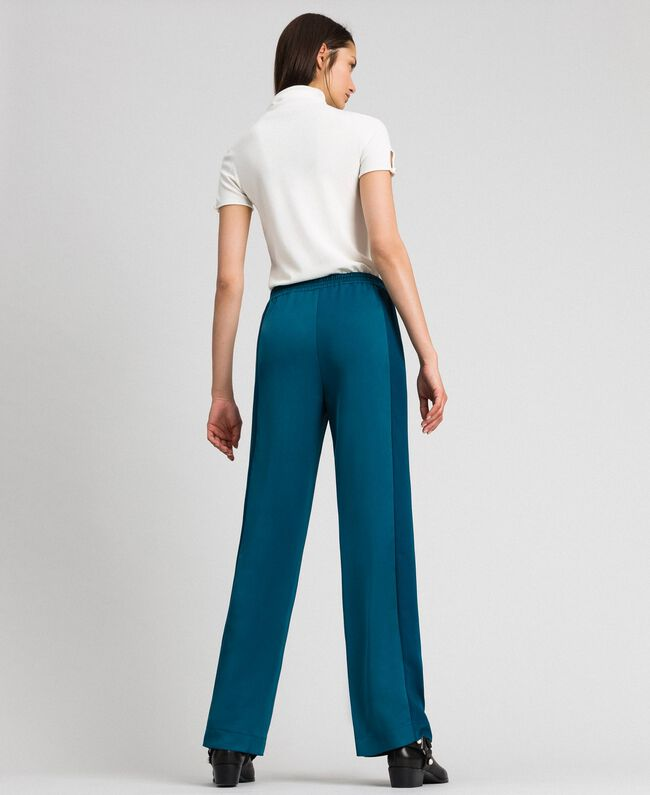 "Palazzo trousers with contrasting bands ""Lake"" Blue Woman 192MP2352-03"
