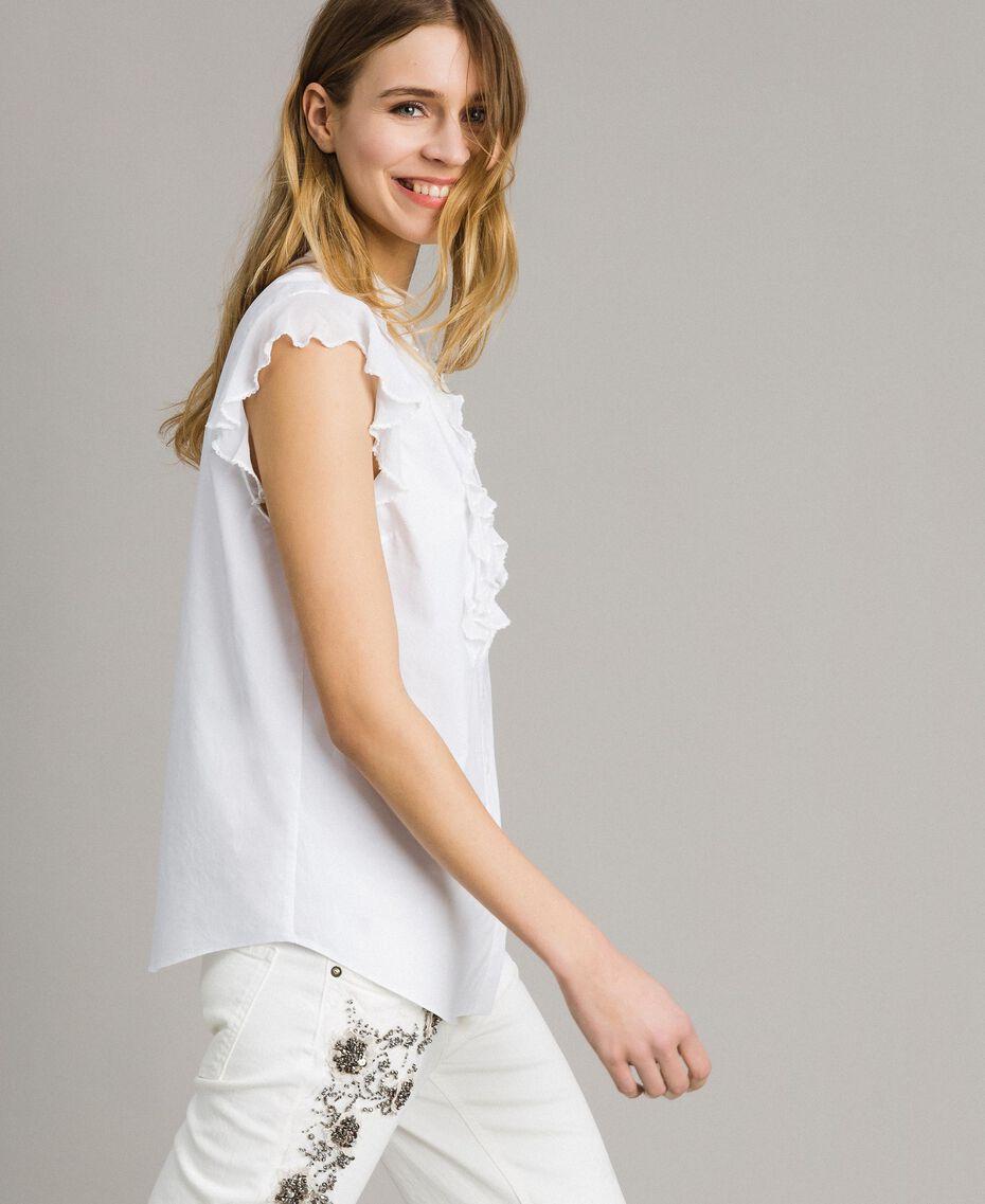 Chemise en popeline avec ruchés Blanc Femme 191TT2260-02