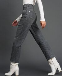 Boyfriend jeans with glitter micro polka dots