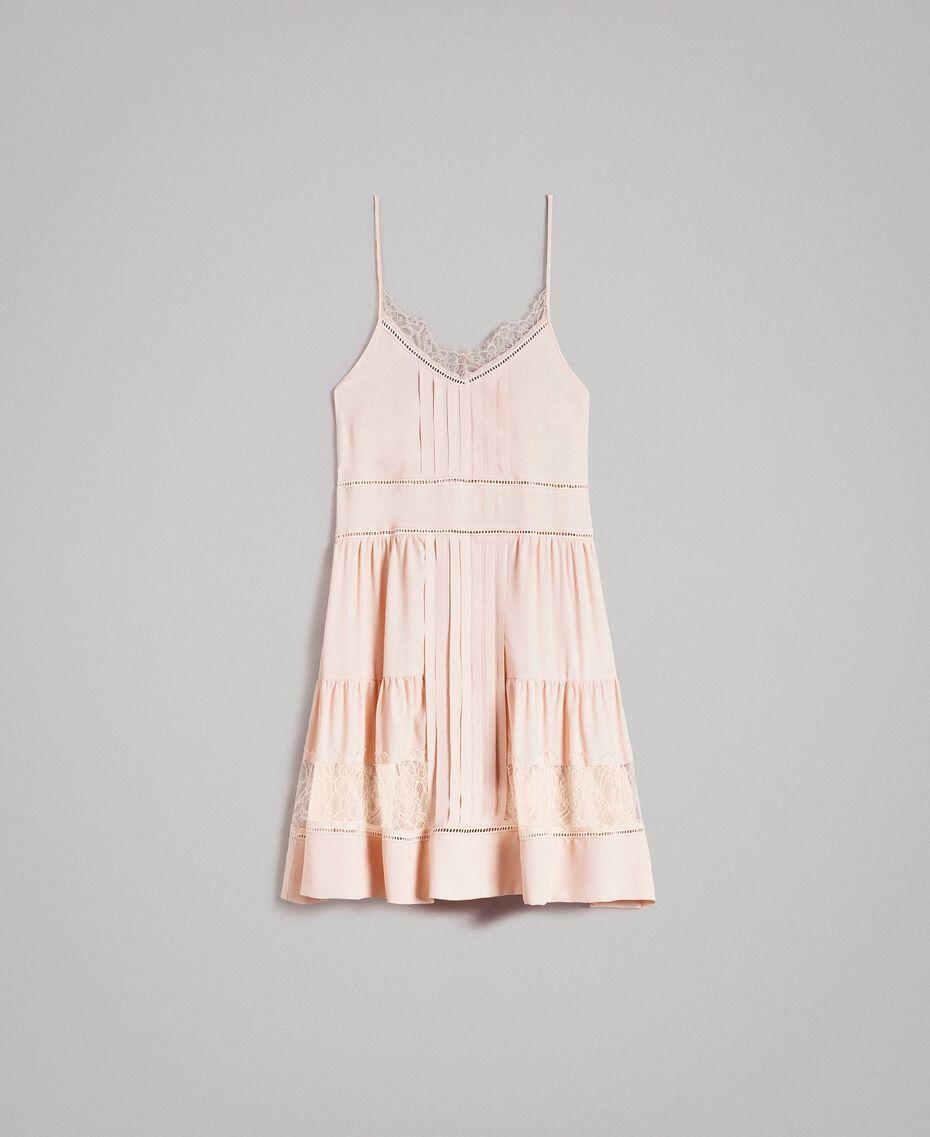 Kleid mit Spitze aus Seidenmischung Blütenknospenrosa Frau 191TP2741-0S
