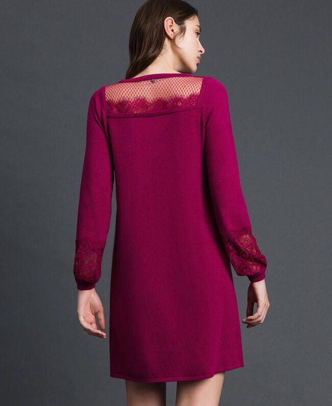 Kleid mit Spitze und Plumetis-Tüll Rote-Bete-Rot Frau 192TP3170-03