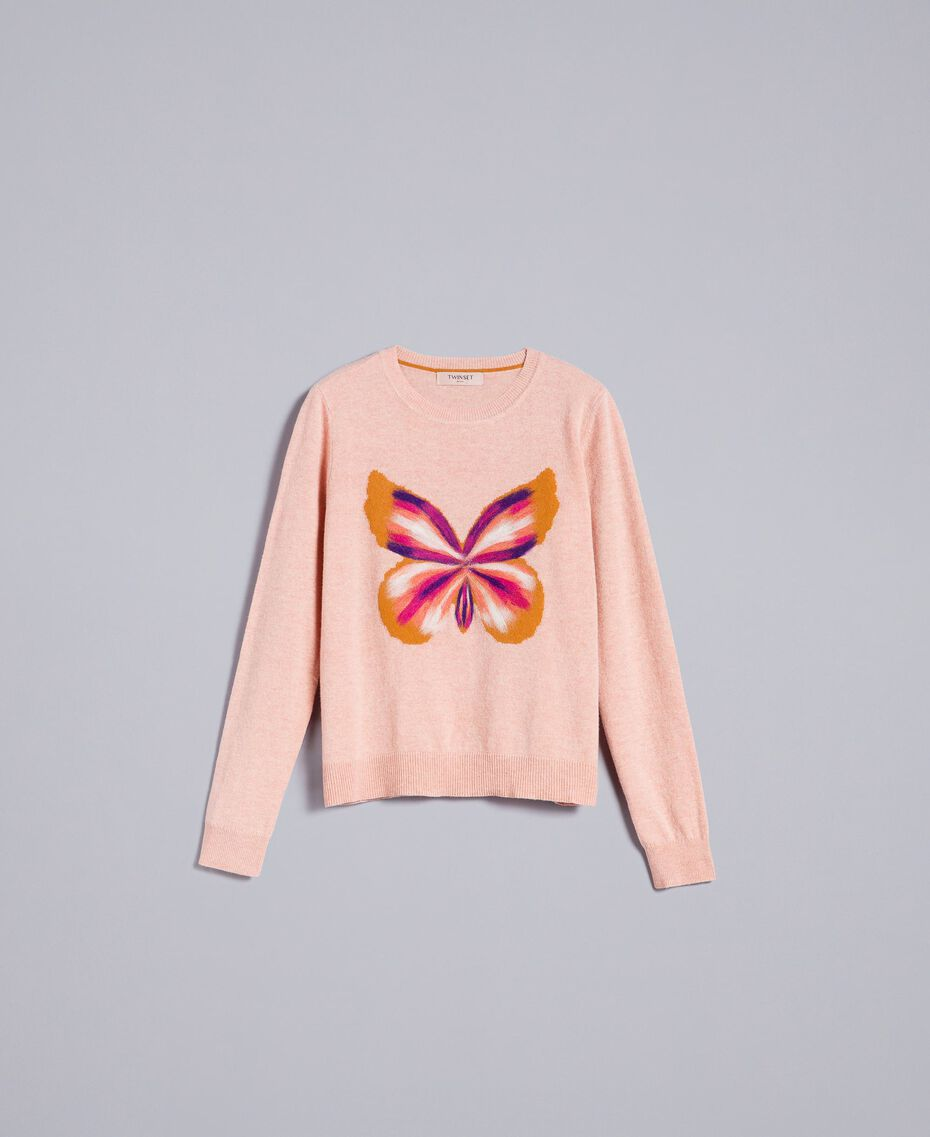 """Wool blend embroidered jumper """"Pale Pink"""" Butterfly Needle Punch Embroidery Woman TA83JD-0S"""