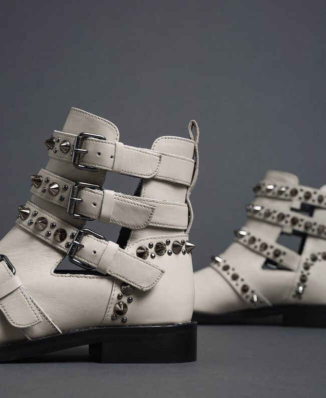 Leather biker boots with straps and studs White Snow Woman 192TCP01U-04