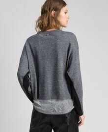 Boxy jumper with slip top Medium Gray Mélange Woman 192MP3101-03