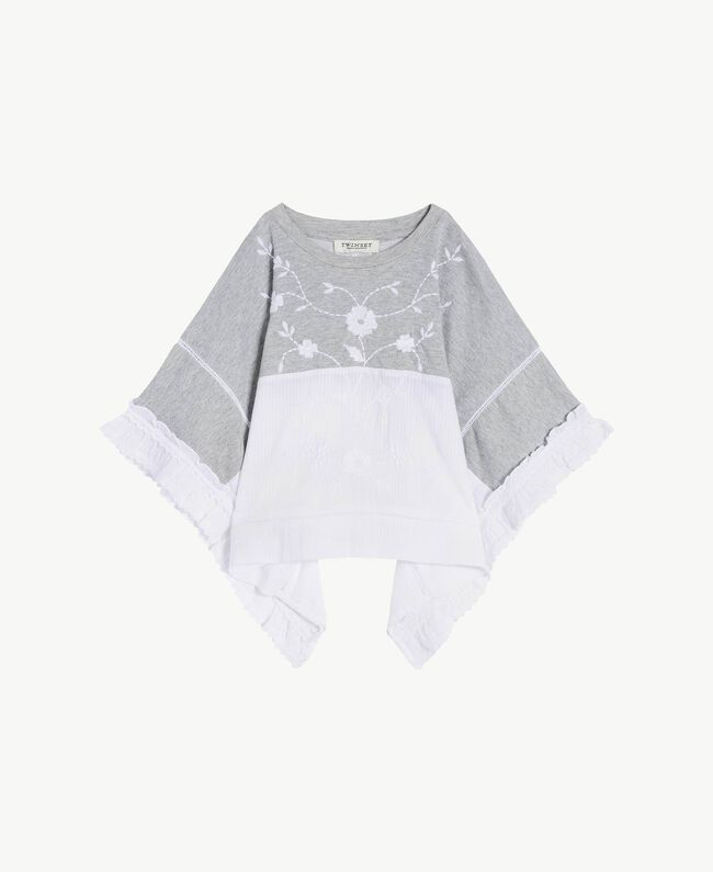 "Embroidered tunic ""Papyrus"" White Jacquard Stripes / Light Melange Grey Child GS82LB-01"