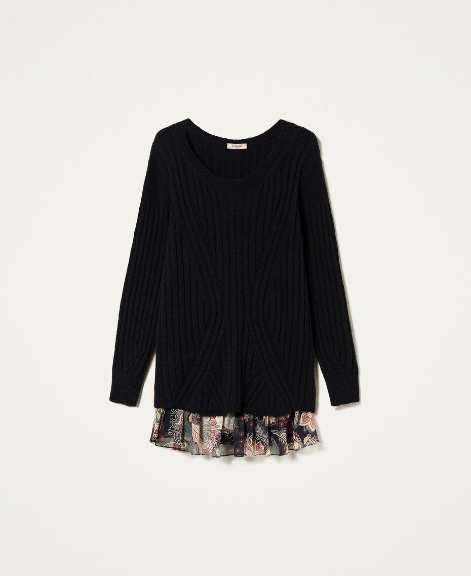Robe en laine mélangée avec fond de robe floral Bicolore Noir / Imprimé Indian Flower Noir Femme 212TP3510-0S