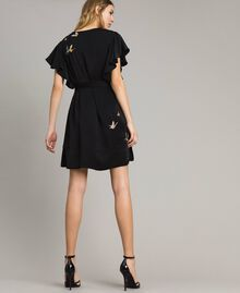 Satin dress with butterfly embroidery Black Woman 191TT2114-03