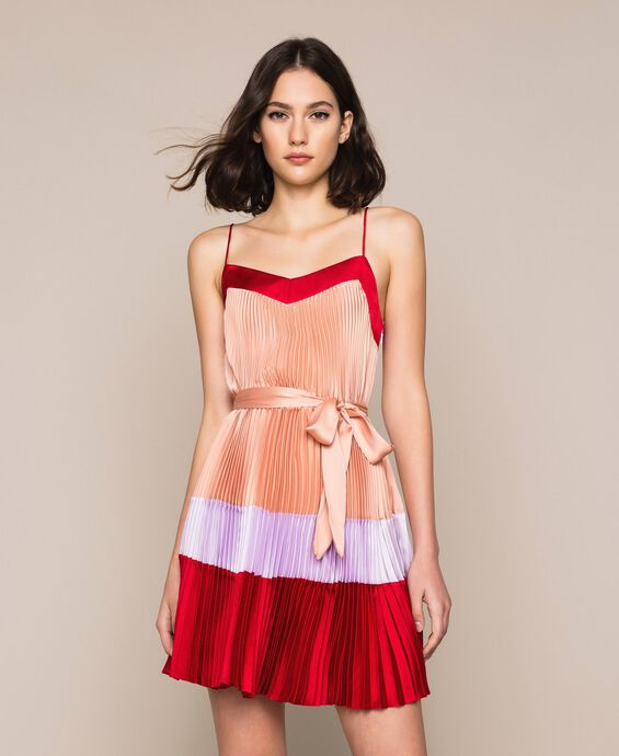 Pleated satin slip dress