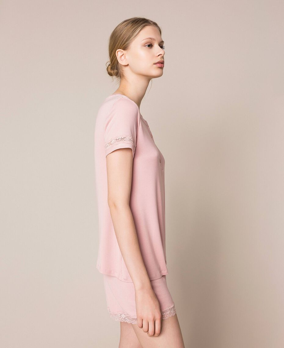 """Short ribbed pyjamas with lace """"Peachskin"""" Pink Woman 201LL25EE-02"""