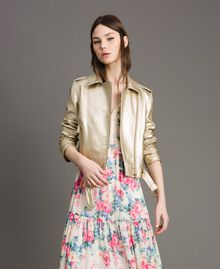 Laminated gold faux leather biker jacket Gold Yellow Woman 191MP2140-02