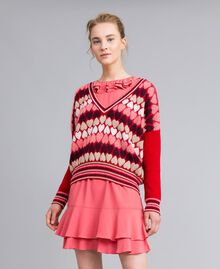 """Jumper with jacquard hearts """"Poppy"""" Red Heart Jacquard Woman PA837N-01"""