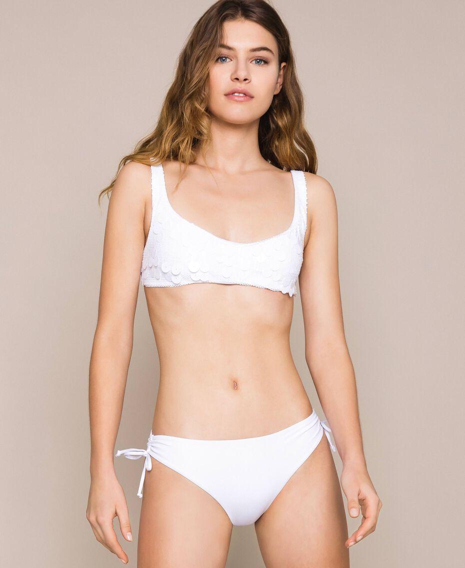 Triangle bikini top with sequins White Woman 201LMMA33-01