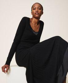 Wool blend dress with slip Black Woman 202TT3053-04