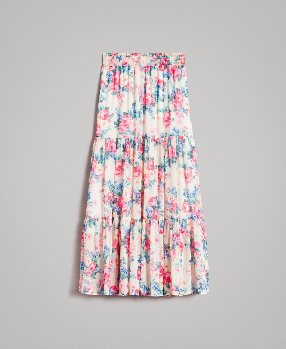 Printed georgette skirt with flounces Cloth White Flowers Print Woman 191MP2337-0S