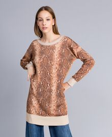 Maxi maglia in misto lana animalier Stampa Chocolate Snake Donna PA83KB-05