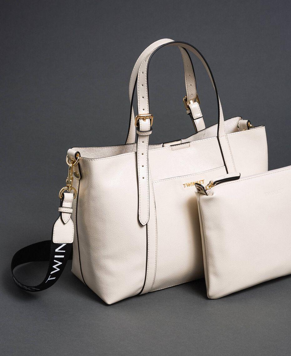 Borsa shopper in similpelle effetto vernice Bianco Neve Donna 192TO8150-01