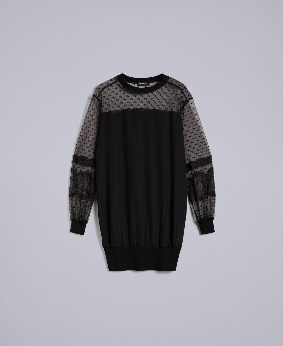 Maxi crêpe de Chine silk sweatshirt Black Woman PA82B4-0S