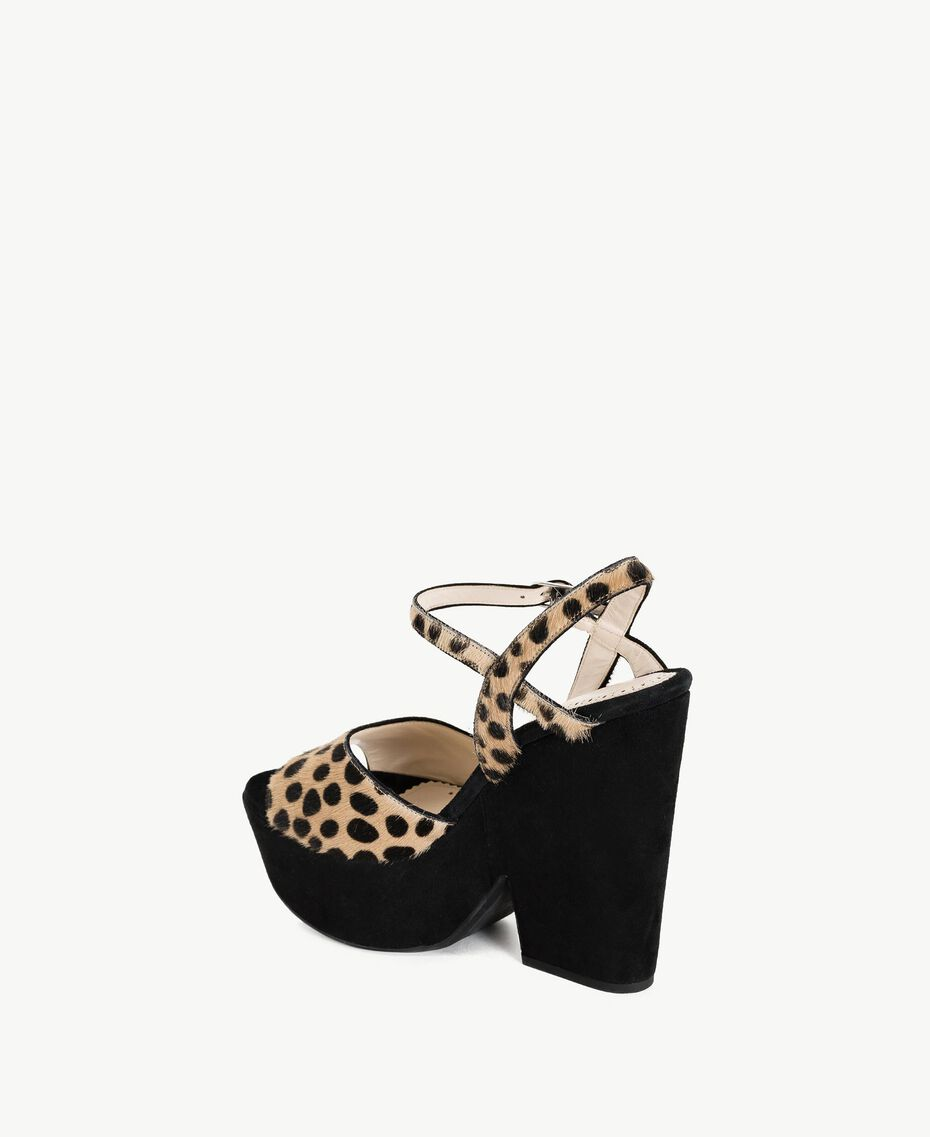 "TWINSET Animal print sandals ""Ponyskin"" Animal Print Woman CS8PL3-03"