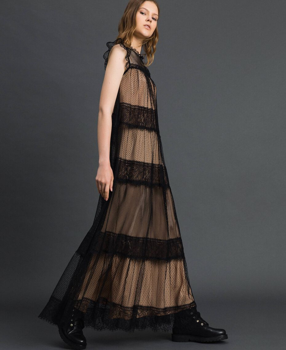 Robe longue avec patchs en tulle, dentelle et plumetis Bicolore Noir / Nude Femme 192TP2332-02