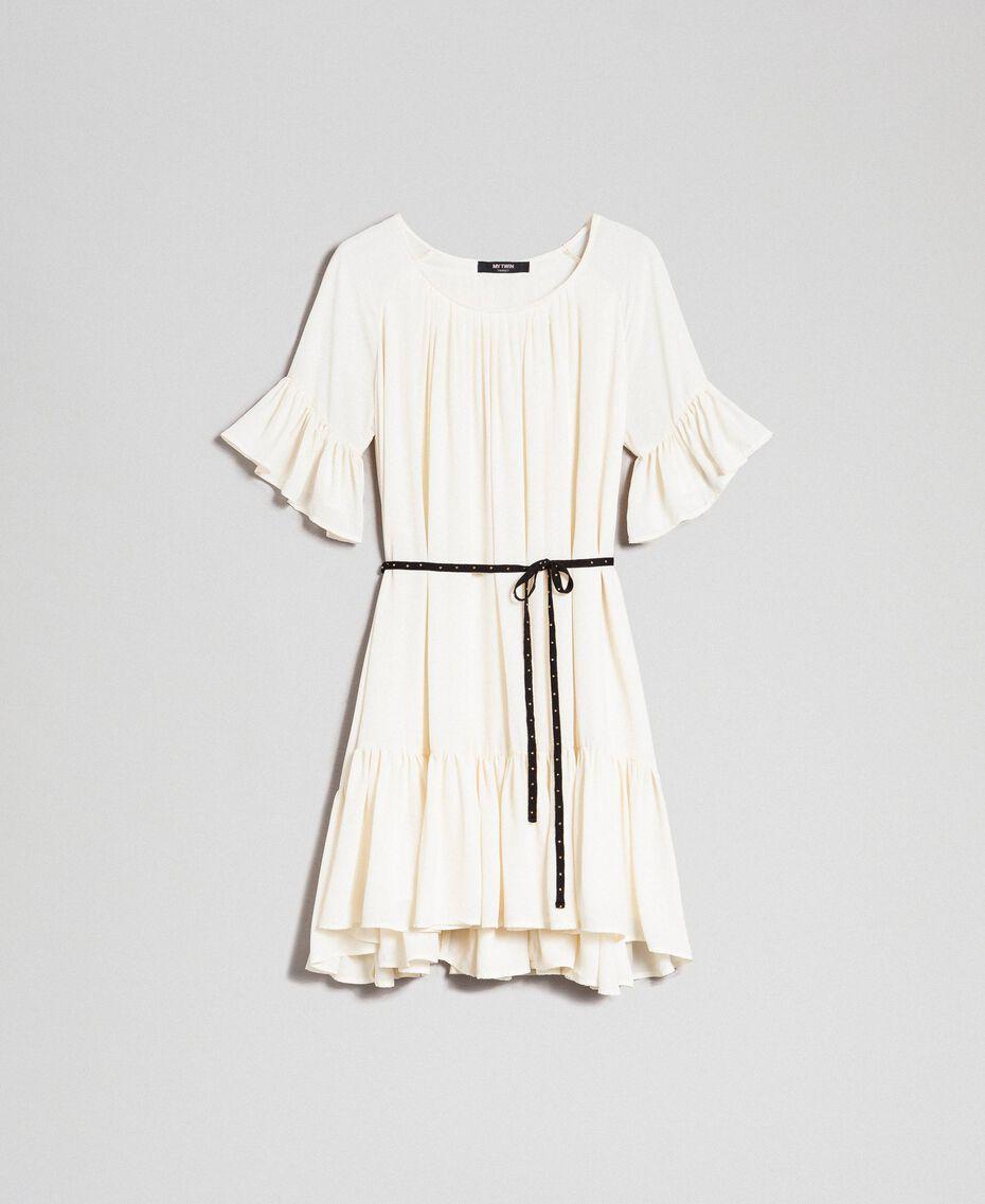 Kleid aus Crêpe de Chine mit Gürtel Weiß Vanille Frau 192MP2163-0S