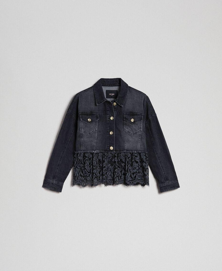 Giacca boxy in jeans e pizzo mélange Denim Nero Donna 192MP2200-0S