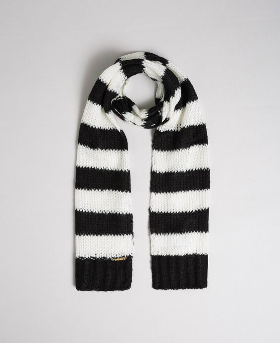 Two-tone striped mohair scarf