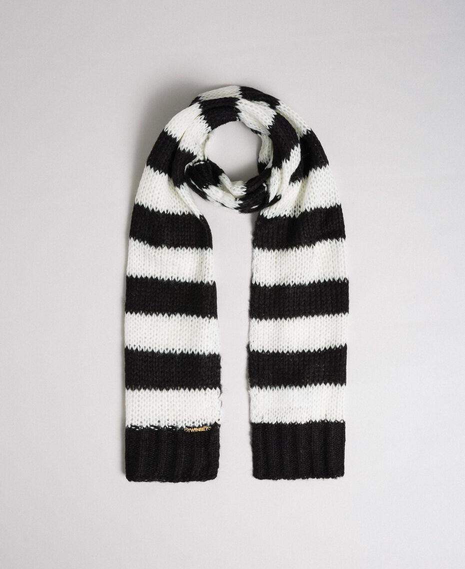Two-tone striped mohair scarf Black Striped Jacquard / Off White Child 192GJ4223-01