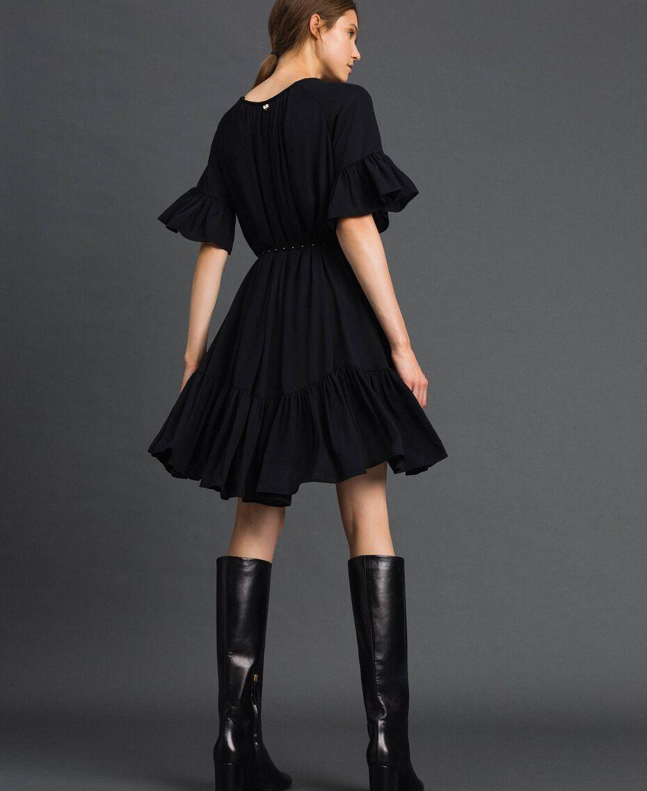 Crêpe de Chine dress with belt Black Woman 192MP2163-03