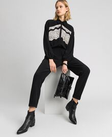 Lace jumpsuit with removable collar Black Woman 192ST2167-05