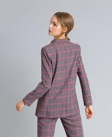 Veste en flanelle à carreaux Jacquard Carreaux Gris / Rouge Femme SA82FA-03