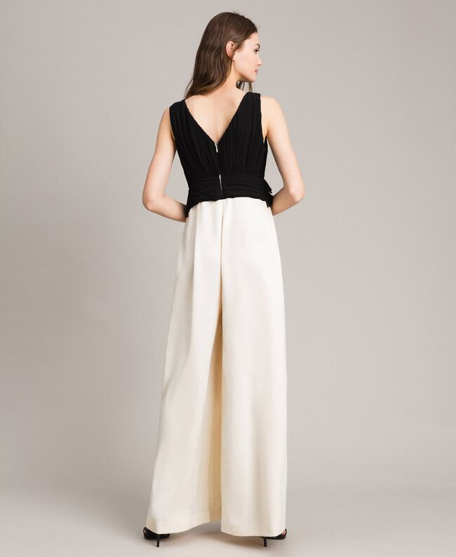 Two-tone satin and georgette jumpsuit Two-tone Ecru / Black Woman 191ST2191-05
