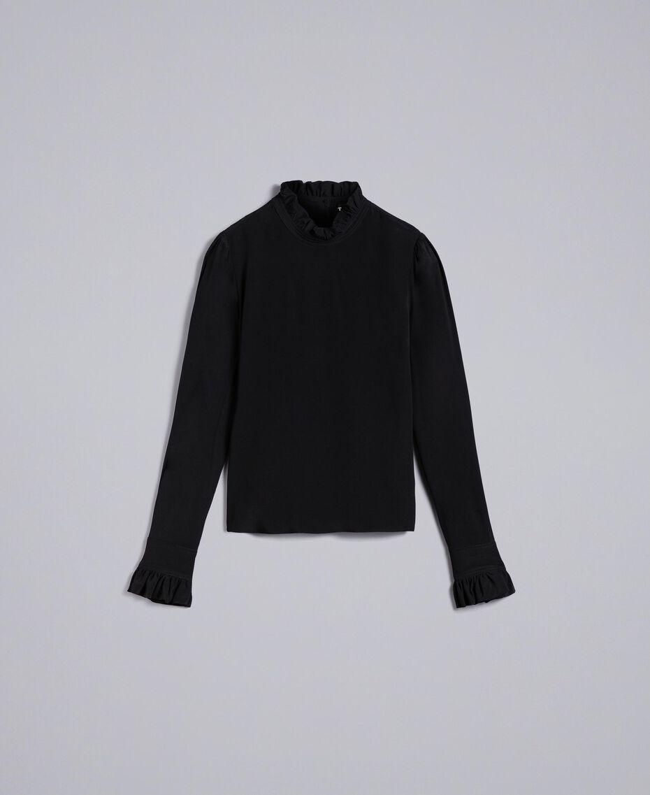 Bluse aus Seidenmischung mit Rüschen Schwarz Frau TA823D-0S