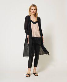 Cardigan long avec insertion plissée Noir Femme 211LL3NGG-05