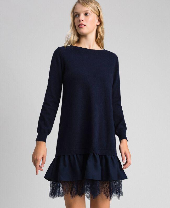 Robe en laine mélangée avec dentelle Indigo Femme 192MT3281-01