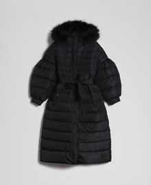 Long quilted padded jacket with real down Black Woman 192TT2173-0S