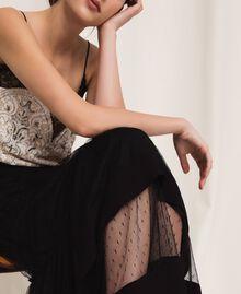 Crêpe de Chine skirt with plumetis tulle Black Woman 201TP2372-04
