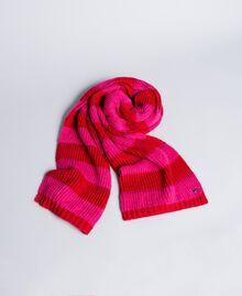 "Two-tone striped scarf Bicolour ""Poppy"" Red / ""Cerise"" Fuchsia Woman RA8T2J-01"