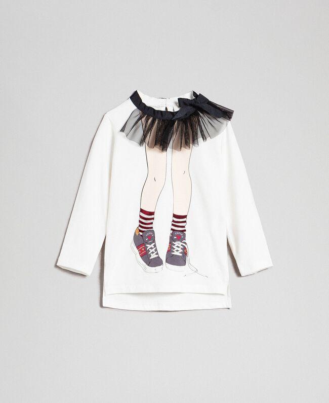 Maxi t-shirt avec imprimé et col en tulle Blanc / Noir Enfant 192GB244A-01